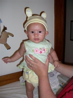 Josie in her bunny hat