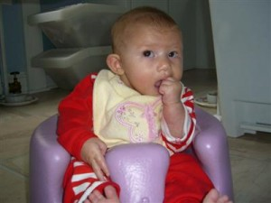 Josie in her bumbo