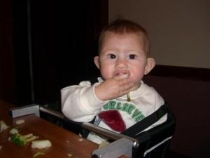 Josie eating potato