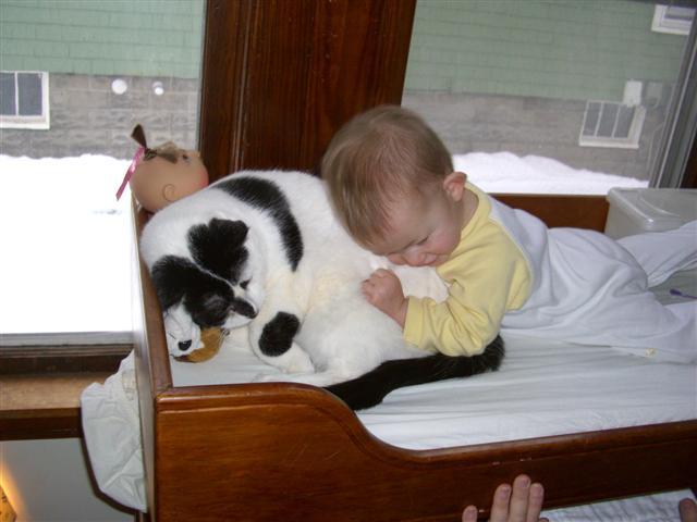 Josie snuggling Fred