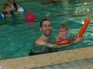 Josie in the pool with Jordi