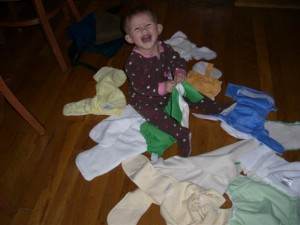 Josie amongst the diapers