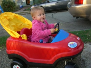Josie in her car