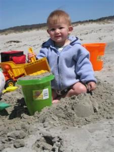 Josie in the sand
