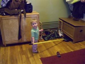 Josie helping to clean