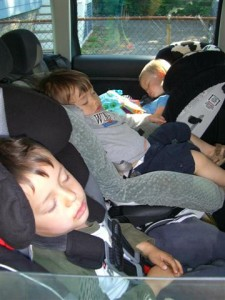 Ethan, Zach and Josie sleeping after the zoo