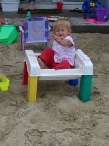 Josie box in the sand