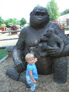 Josie and the gorilla statue