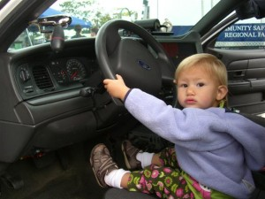 Josie in the police car