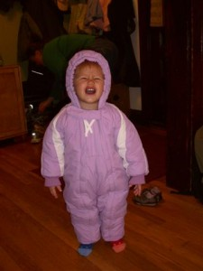 Josie in her snowsuit