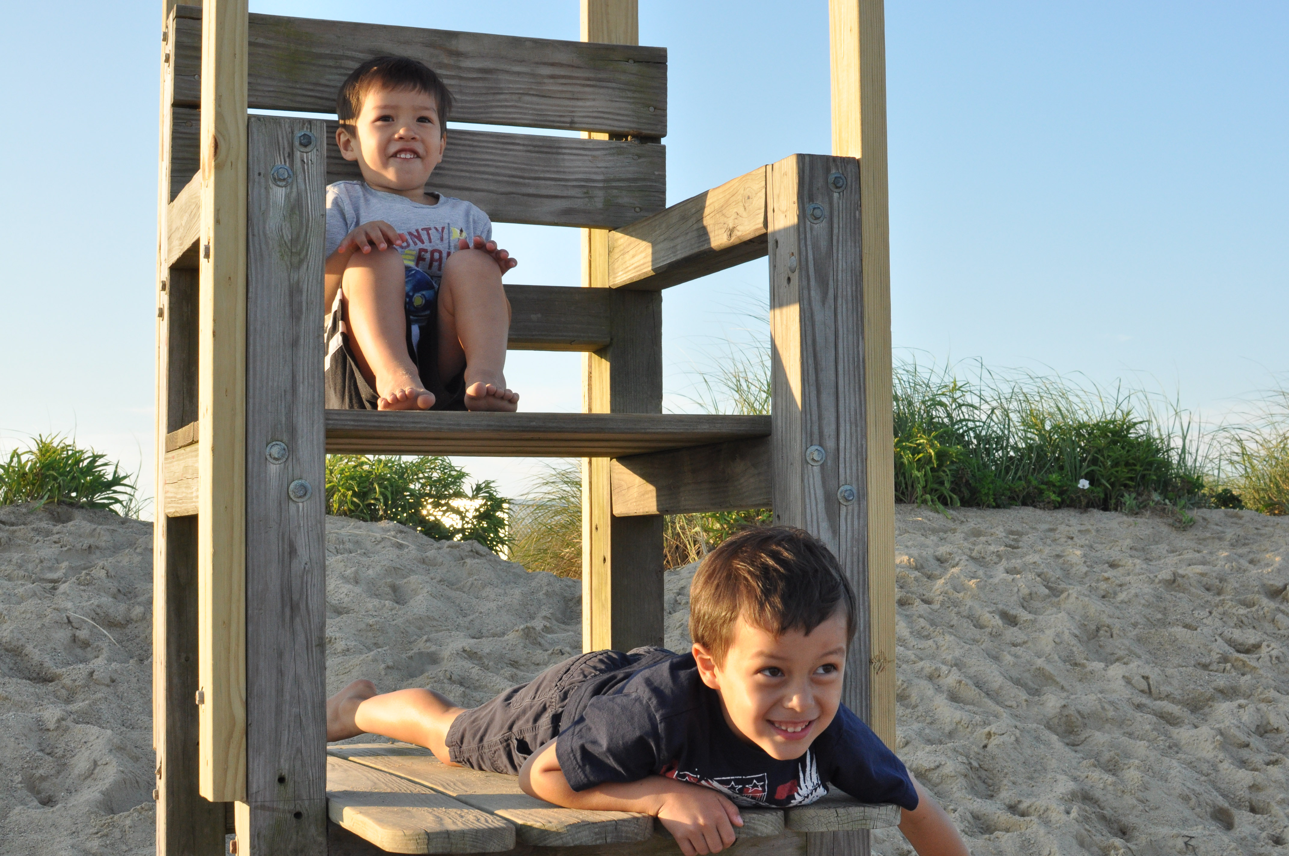 Zach and Ethan on the lifeguard chair