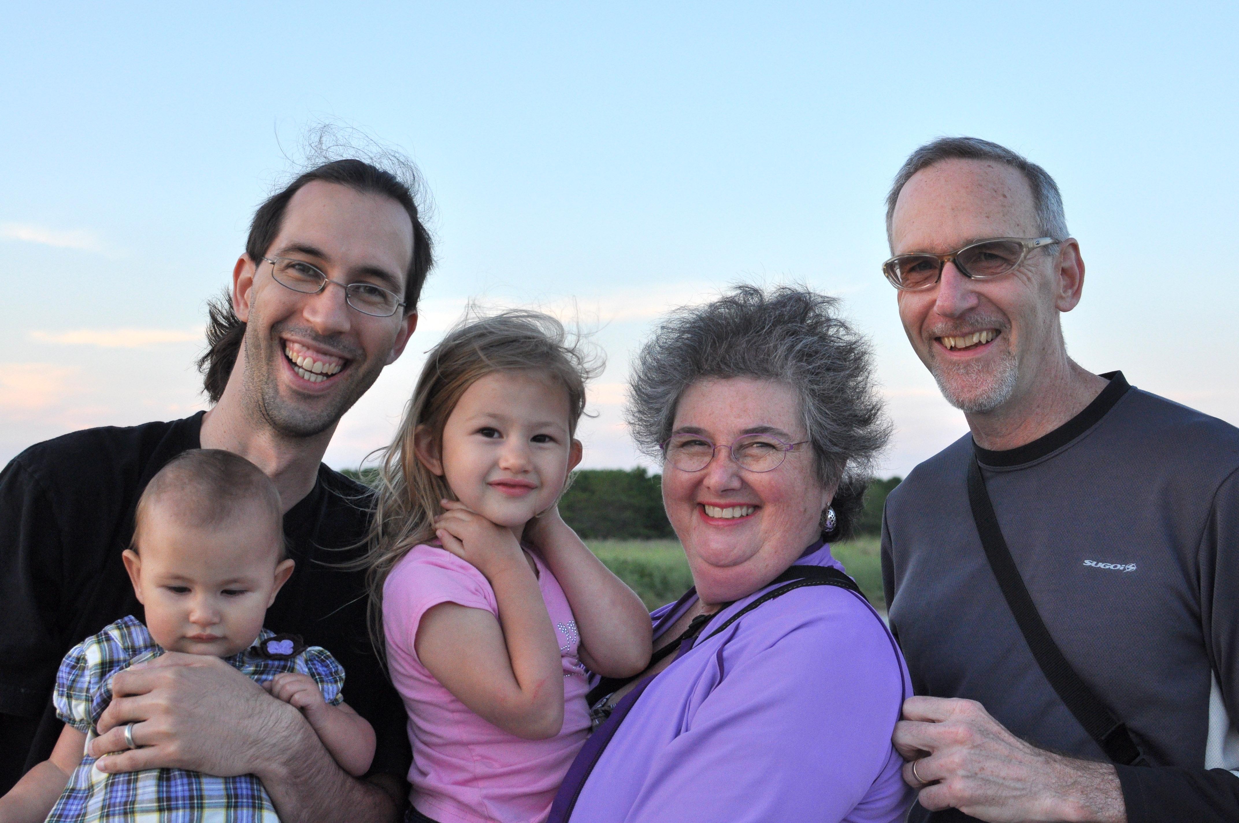 Celia, Jordi, Josie, Karen and Mike at the beach