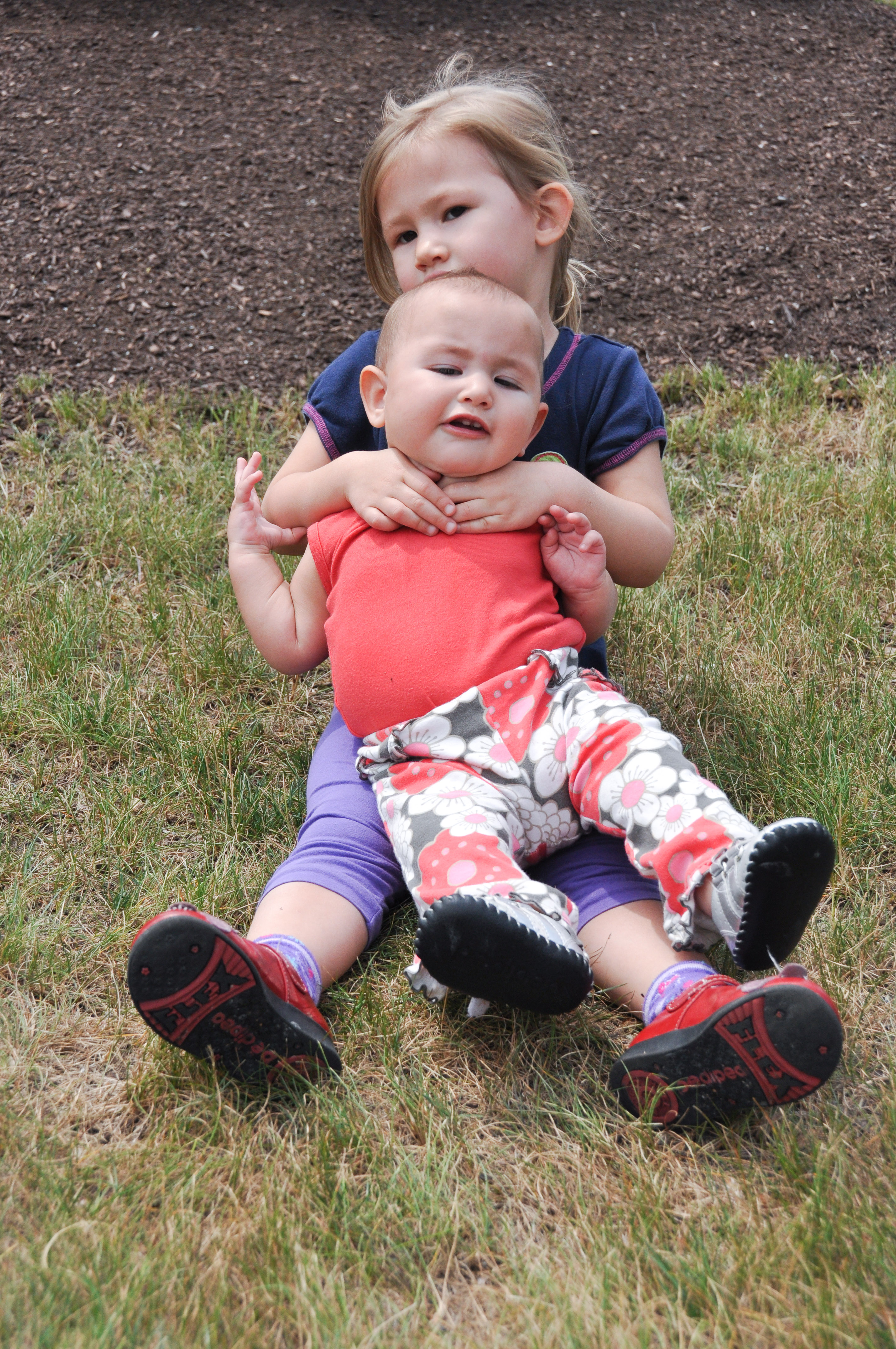Josie and Celia on the grass