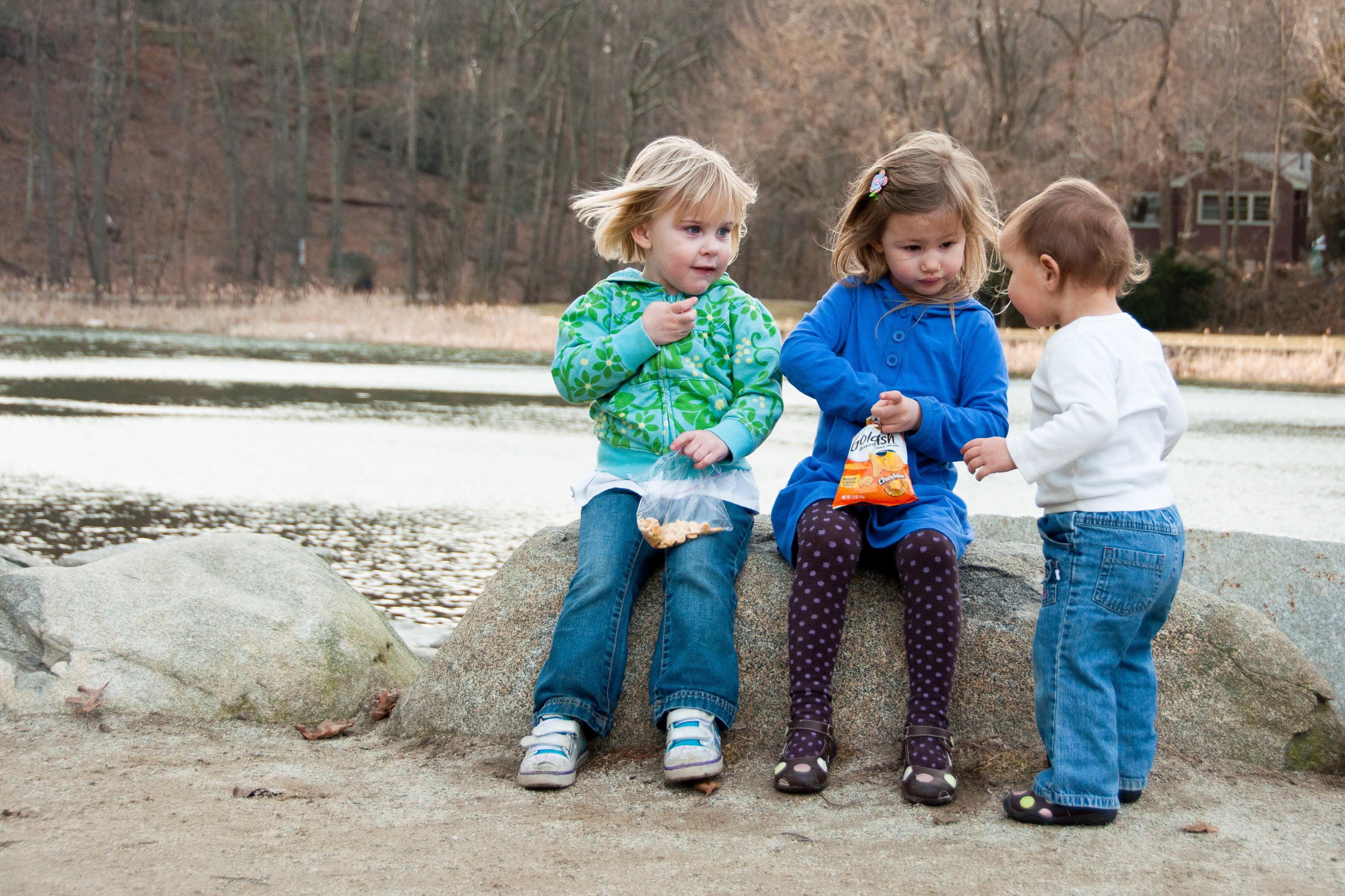 Ella, Josie and Celia having a snack