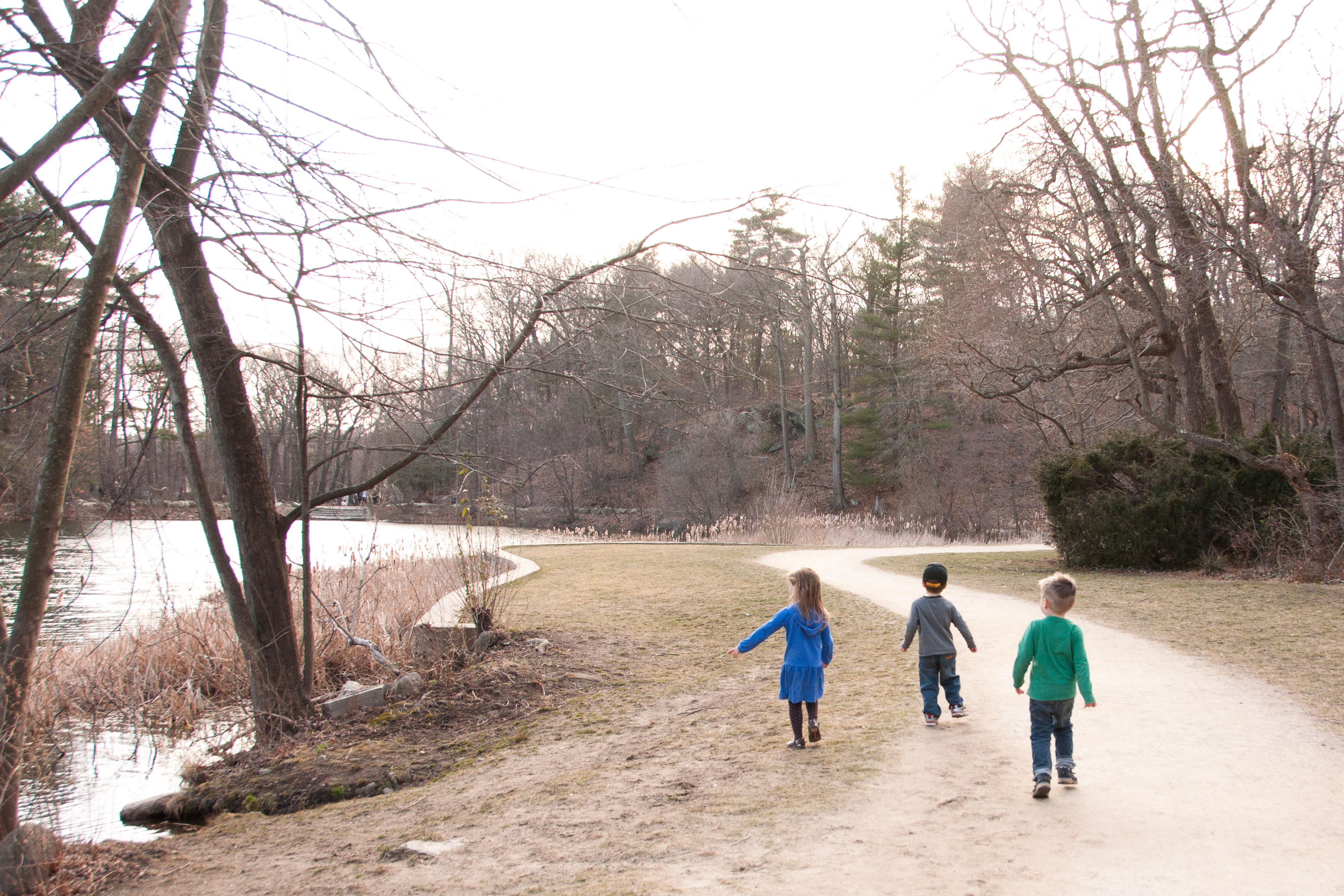 Josie, Luke and Nolan running down the path