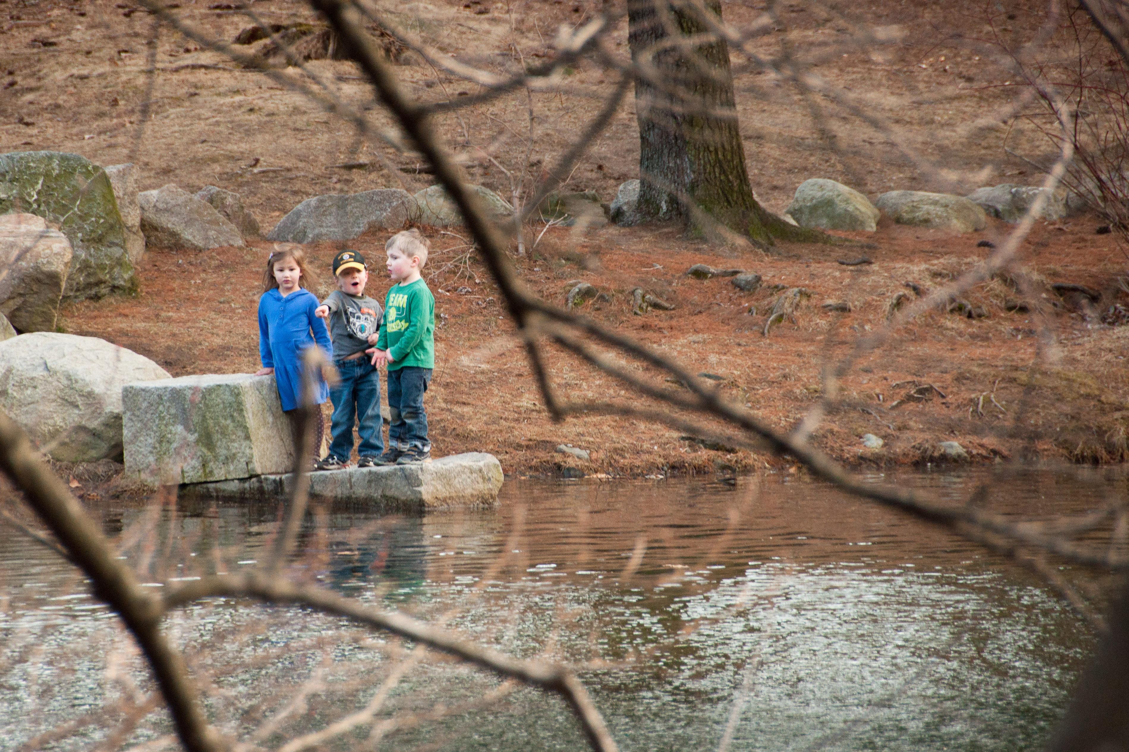 Josie, Luke, and Nolan exploring the waterfront