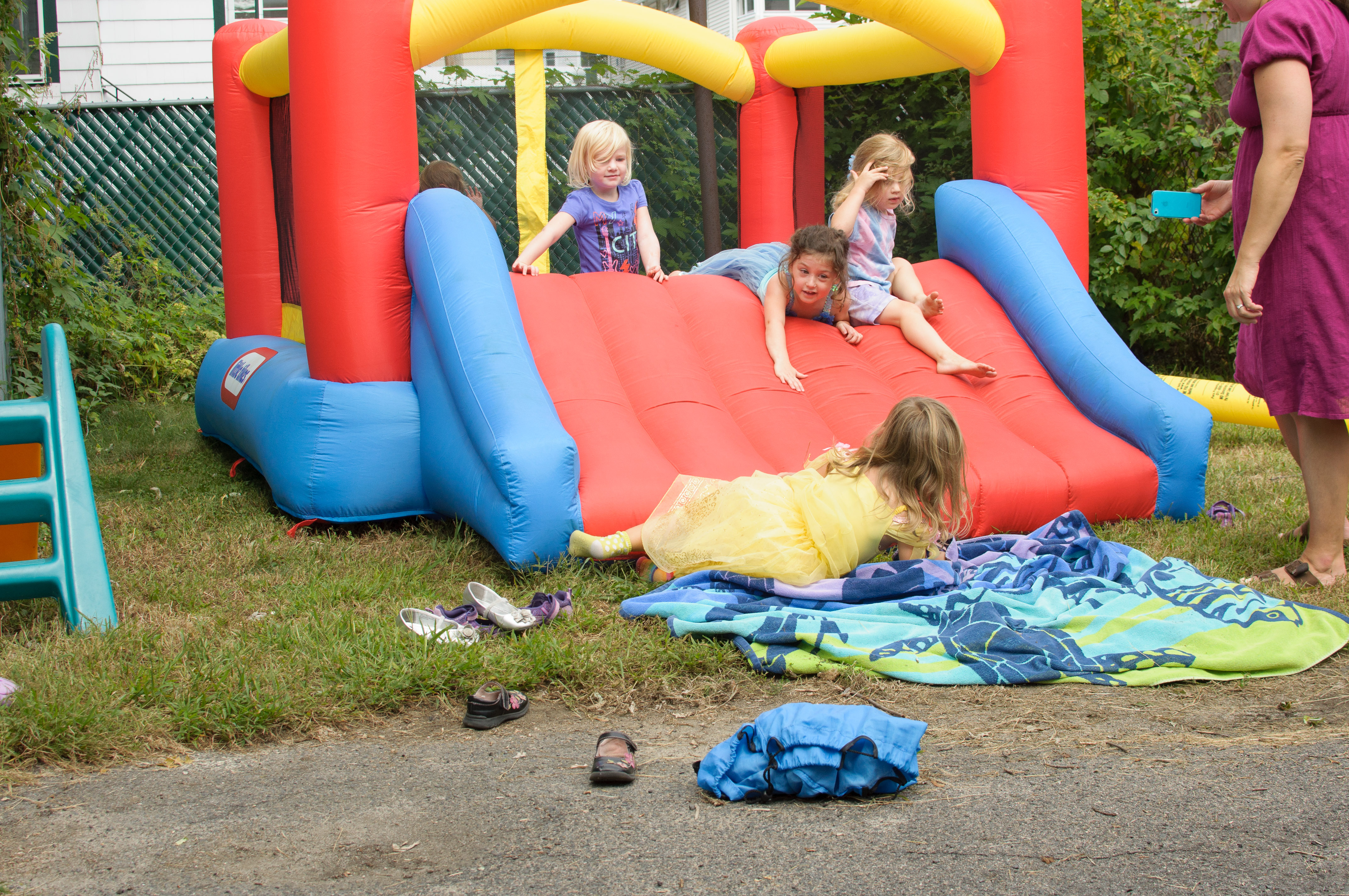 Bounce house with fancy dress