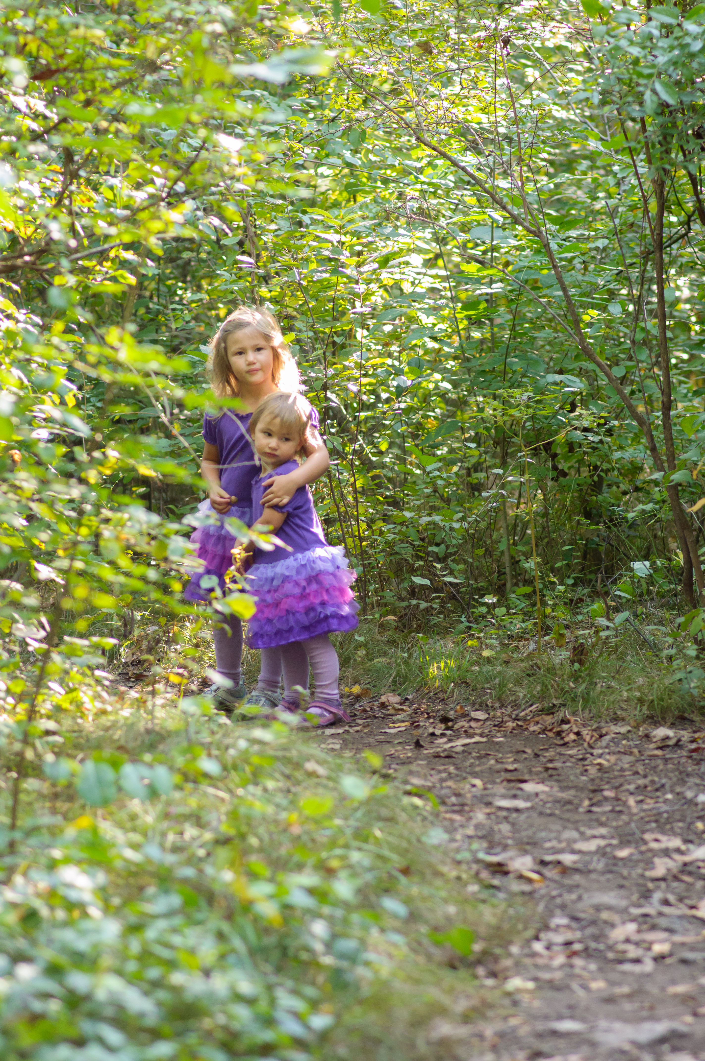 Josie and Celia in the woods