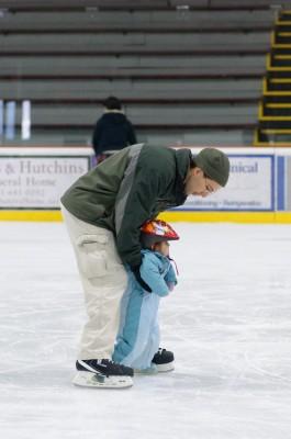 Jordi ice skating with Celia