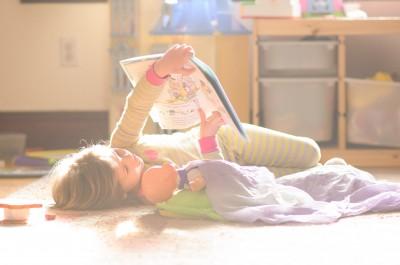 Josie reading to Zoe