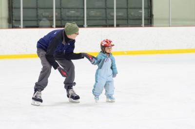 Celia skating with Papa