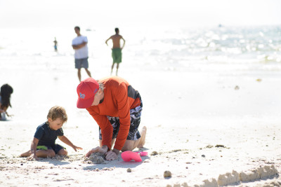 Celia and Mike digging in the sand