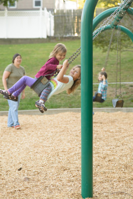 Celia and Josie 'spider' swinging