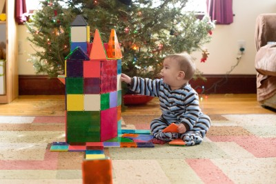 Ewan building a tower