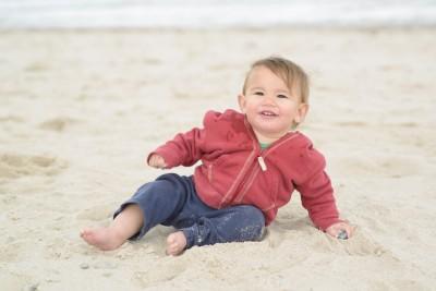 Ewan lounging on the beach
