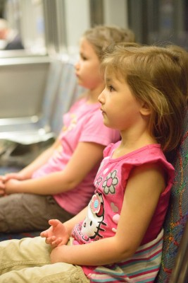 Girls sitting on the train