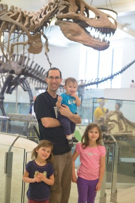 Celia, Jordi, Ewan and Josie in front of the dinosaur