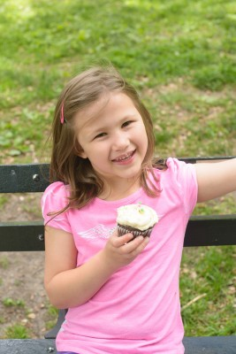 Josie enjoying the cupcake