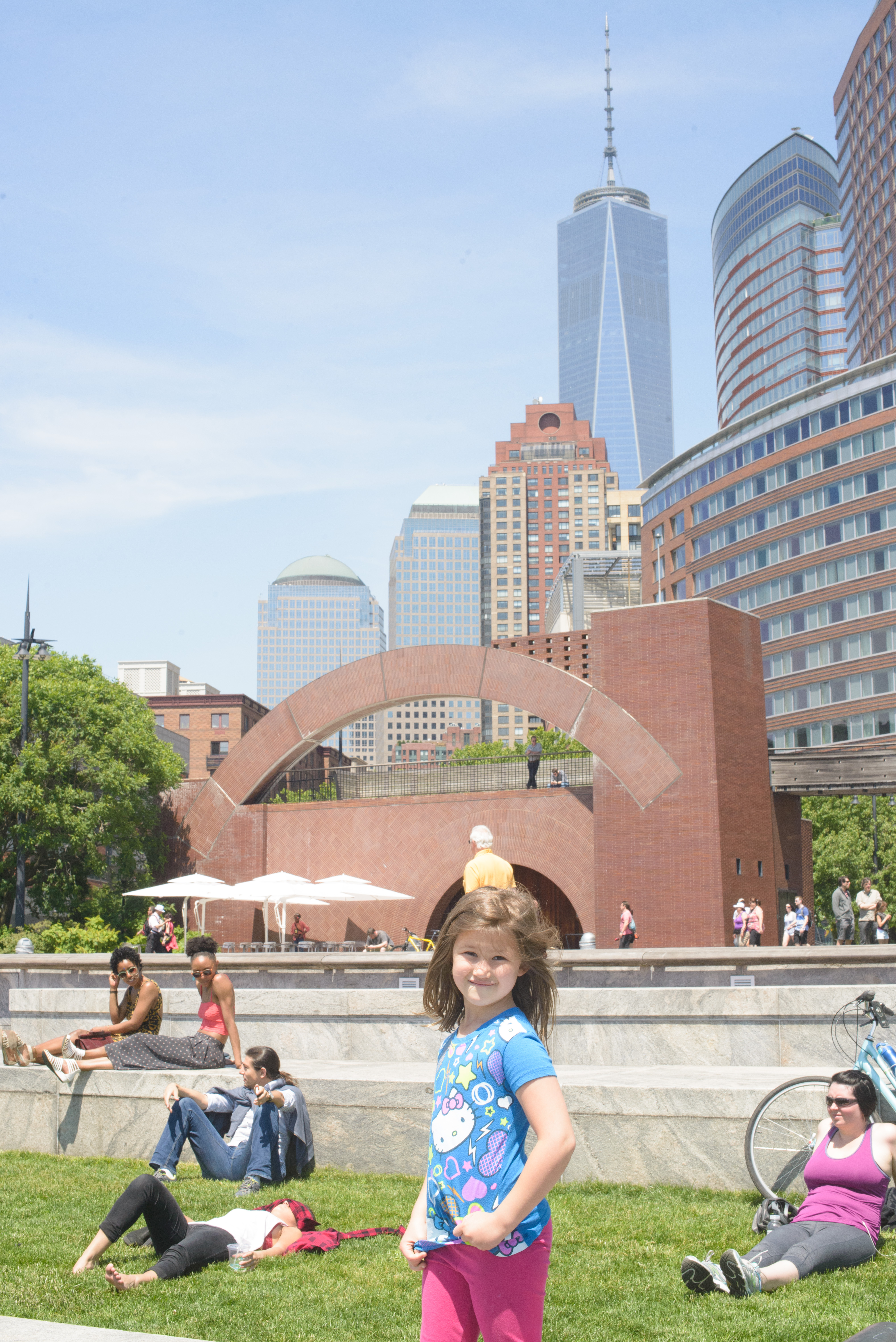Josie in front of the freedom tower