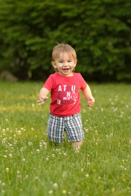 Ewan running in the grass