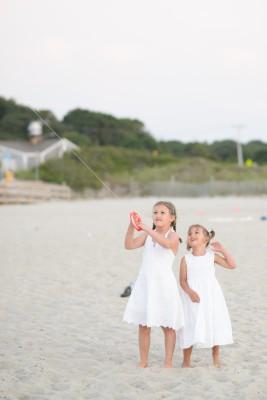 Girls flying the kite