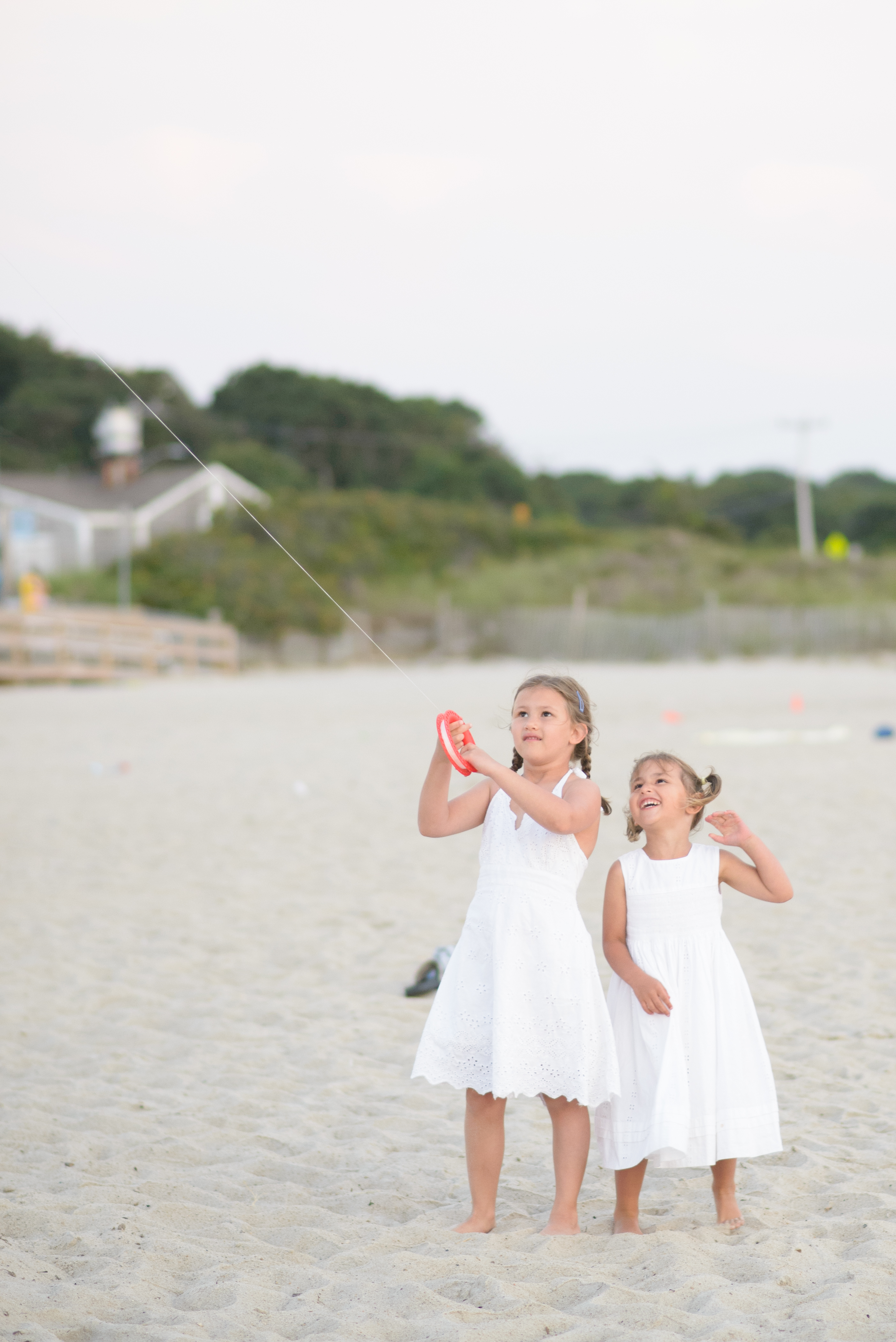 Girls flying the kite