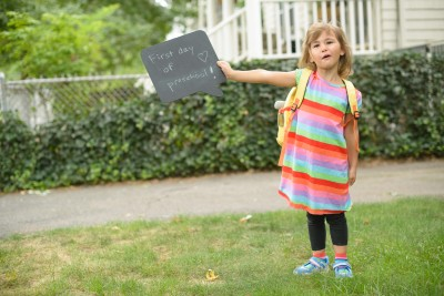 Celia's first day of preschool