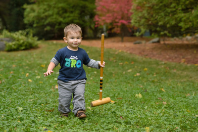 Ewan playing croquet