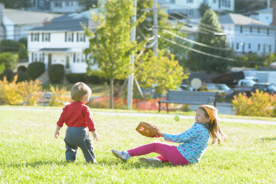 Ewan and Josie playing catch