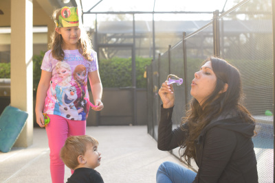 Blowing bubbles with Vani