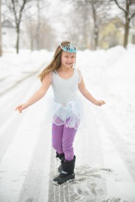 Josie as Elsa with striped pants