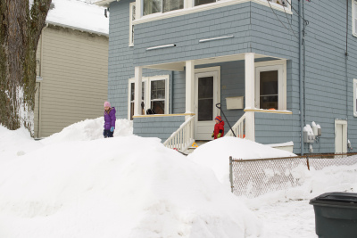 Front of the house in the snow