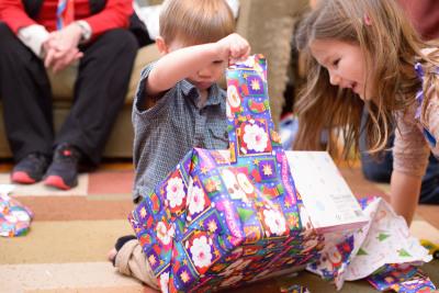 Ewan opening more gifts