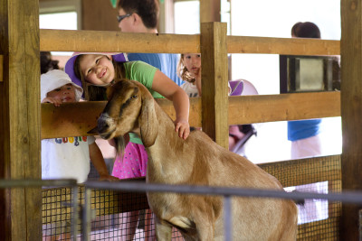 Ewan, Josie and Celia with the goat