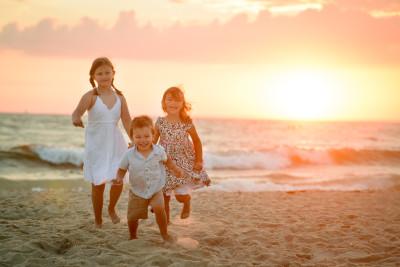 Josie, Ewan and Celia on the beach summer 2015