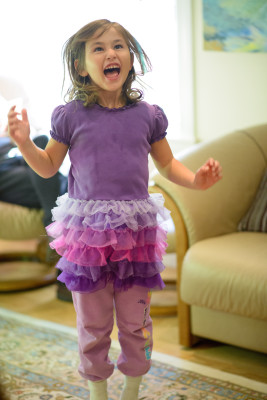 Celia jumping for joy